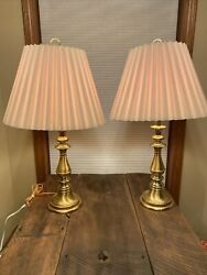 Vintage pair of Solid Brass Lamps with Original Empire Pleated shades $68.00