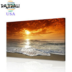 Wall Art Sunset Ocean Beach Canvas Prints Paintings Pictures Seascape Home Decor $12.99