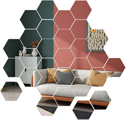 Mirror Wall Stickers 36pcs Removable Acrylic Wall Decals Hexagonal Adhesive Mi $20.99