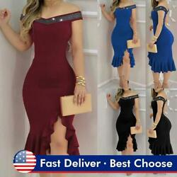 Womens Off Shoulder Ruffle Bodycon Dress Ladies Cocktail Evening Party Dresses $24.39
