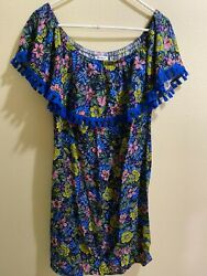Westport Peasant Style Short Dress or Long Top Size M Floral with Fringe $18.00