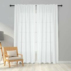 Melodieux White Semi Sheer Curtains 84 Inches Long for Living Room Linen Look $25.95