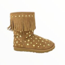 Ugg x Jimmy Choo Starlit Boots Womens Size 6 Gold Stars Fringe Studded Suede $164.89