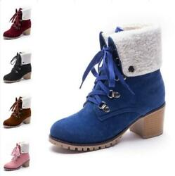 Women#x27;s Motor Pumps Round Toe Block Heel Lace Ups Ankle Boots Casual 41 42 43 D $49.99