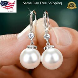 Gorgeous 925 Silver Drop Earrings for Women White Pearl Jewelry A Pair set $4.99