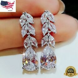 Gorgeous 925 Silver Drop Earrings for Women Jewelry White Sapphire A Pair set $3.22