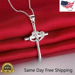 """Womens 925 Sterling Silver CZ Cubic Heart Cross Pendant Necklace 18"""" N31 $3.29"""