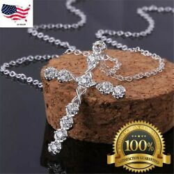 """Women#x27;s 925 Sterling Silver Cubic CZ Crystal Cross Pendant Necklace 18"""" N4 $3.99"""