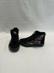 Vans Off The Wall Girls Floral Black Hightop Shoes size 13.5 C $18.00