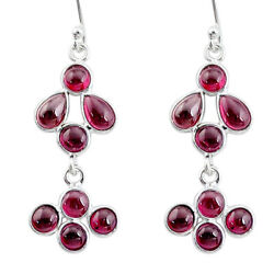 925 Sterling Silver 5.54cts Natural Red Garnet Chandelier Earrings T12423 $11.99