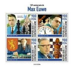 Central Africa 2021 Chess Champion Max Euwe 4 Stamp Sheet CA210228a $13.00
