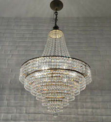 Antique Vintage Brass amp; Crystals GIANT French Chandelier Lighting Ceiling Lamp GBP 750.00