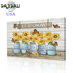 DJDL Butterfly Sunflower Canvas Wall Art Prints Picture Home Decor Painting 1pc $8.09