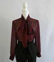 ROBERT KITCHEN CANADA pussy bow blouse SMALL sheer LONG SLEEVE red amp; black $24.00