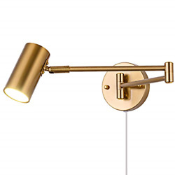 Swing Arm Plug in Wall Sconce Brass 4500K Neutral White Swivel Arm LED Wall for $68.95