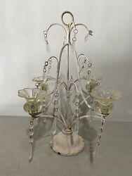 Antique Chandelier Cast Metal Ornate Glass Flowers *Turned To Decor Item No Wire $59.99