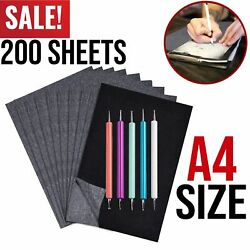 200 Sheets Carbon Transfer Paper Black Graphite Tracing Papers for Wood Canvas $12.99