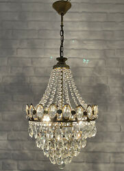 Antique Vintage Brass amp; Crystals French Chandelier Lighting Ceiling Lamp Light GBP 225.00