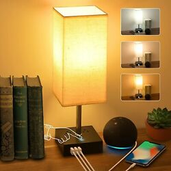 3 Color Touch Control Bedside Lamp with 3 USB Port and Two 3 Prong Outlet Table $26.99