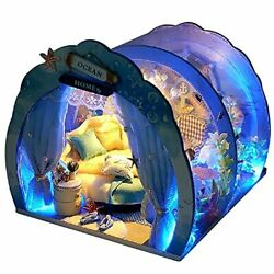 DIY Mini Furniture Ocean Tunnel Room Kit Dollhouse with LED Lights Assembled 3D $32.89