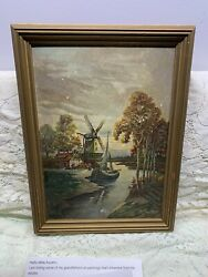 Antique oil painting signed A Hermburg Dutch Windmill Original frame Holland old $45.00