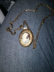Antique Victorian Brass amp; Mother of Pearl Locket Necklace W.Enambled Flower $5.00