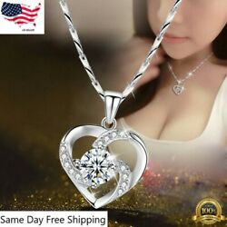 Gorgeous 925 Silver Necklace Pendant for Women Cubic Zircon Jewelry $3.85