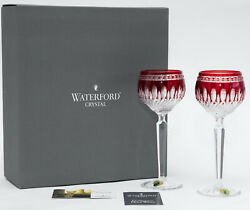 Waterford Crystal CLARENDON Ruby Red Set of 2 Hock Wine Glasses New in Box $255.00