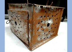 antique HANDMADE amp; HAND PUNCHED TIN LANTERN WARMER w INSIDE TRAY $124.95