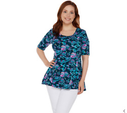 Denim amp; Co Elbow Sleeve Printed Fit amp; Flare Tunic Teal Floral Pet Medium A308809 $14.99