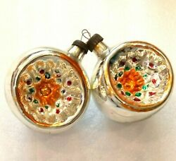 2 Vintage USSR Glass Russian Christmas Ornaments Xmas Decorations Old Lanterns $24.99