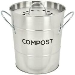 Spigo Steel Kitchen Compost Bin With Vented Charcoal Filter And Bucket Satin Si $34.13