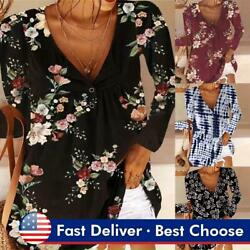 Women Button V Neck Pleated Tops Long Sleeve T Shirt Ladies Tunic Casual Blouse $16.25