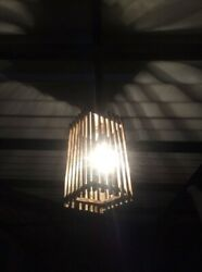 Sri Lankan Handmade Wooden Hanging Lampshade With Core Wire amp; Holder Home Decor $49.99