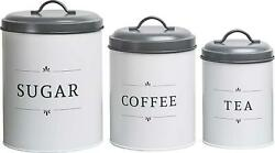 Baie Maison Large Kitchen Canisters Set Of 3 Farmhouse Canister Sets For $34.00