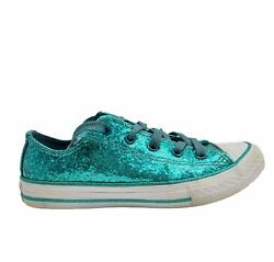 Converse All Star Kids 364814C Glitter Lace Up Teal Sneaker Shoes Size 2 $40.98