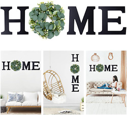 Newtion 11.8quot; Wooden Home Sign Wall Letters with Wreath Artificial Eucalyptus f $35.99