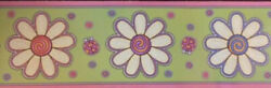 DAISY FLOWERS wallpaper border 10#x27; PREPASTED wall paper room decor ladybugs $7.95