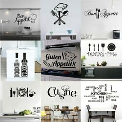 Kitchen Wall Stickers Vinyl Wall Decals English Quote Art PVC Dining Room Decor $9.99