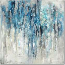 UTOP art Blue Abstract Wall Art Canvas Painting: Navy and Gray Artwork Silver Pr $29.99