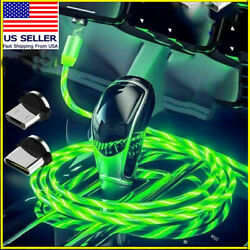 Magnetic LED Light Up USB Phone light up Charger Cord For Type C Micro US $3.39