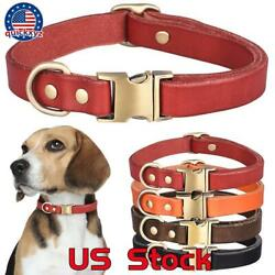 Cowhide Leather Pet Dogs Collars Necklace For Medium Large Adjustable Collar $11.19