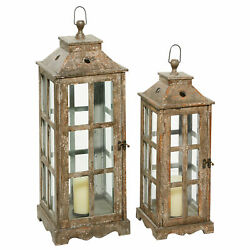 Zimlay Distressed Iron And Fir Wood Set Of 2 Candle Lanterns With Holder 66790 $171.09