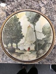 Candy Company Tin Canco Vintage Couple looking up at Castle On Mountain 9.25quot; $29.95