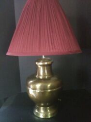 Vintage Lamp Brushed Gold Finish Table Metal 80s Modern Style 26quot; Height $79.95
