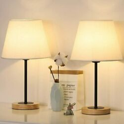 Set of 2 Small Table Lamps Bedside Desk Lamps for BedroomNightstands Wood Base $28.99