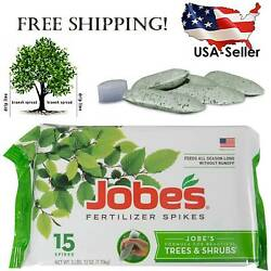 Jobe#x27;s Fertilizer Spikes for Treesamp;Shrubs Time Release Nourish at Roots 15 Count $14.87