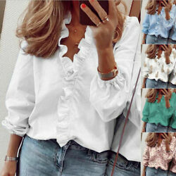 Women Casual T Shirt Long Sleeve Ruffle V Neck Tops Loose Blouse Floral Tunic $12.96