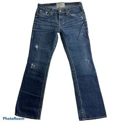 Big Star Womens Boot Cut Jeans Blue Stretch Whiskered Pockets Stitching 27R $19.99
