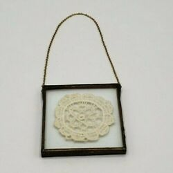 Miniature Hanging Antique Vintage Framed Lace Doily Unmarked Double Sided $15.00